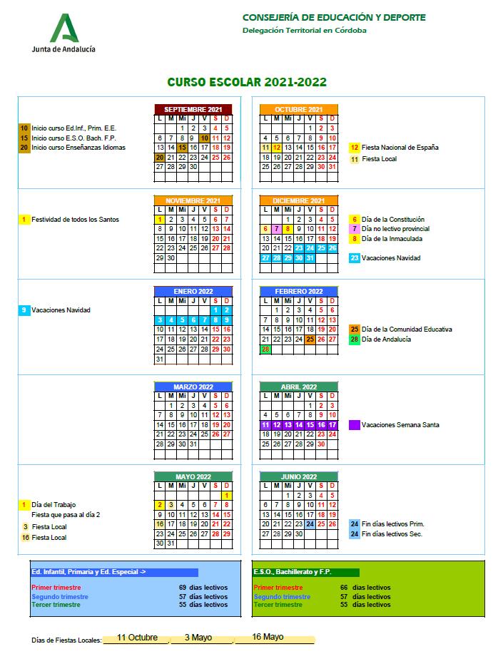 Calendario escolar 21 - 22