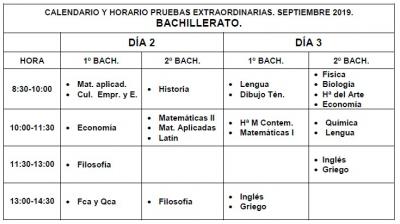 Calendario Dibujo 2019.Calendario De Examenes De Septiembre 2019 Bachillerato Ies