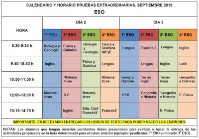 Calendario De Examenes.Calendario De Examenes De Septiembre 2019 Eso Ies Profesor Tierno
