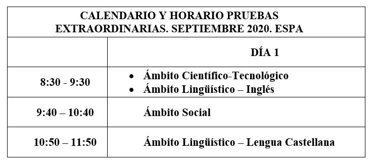 Exámenes ESPA Septiembre 2020